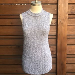 Anthropologie ribbed mock neck top Blue Small